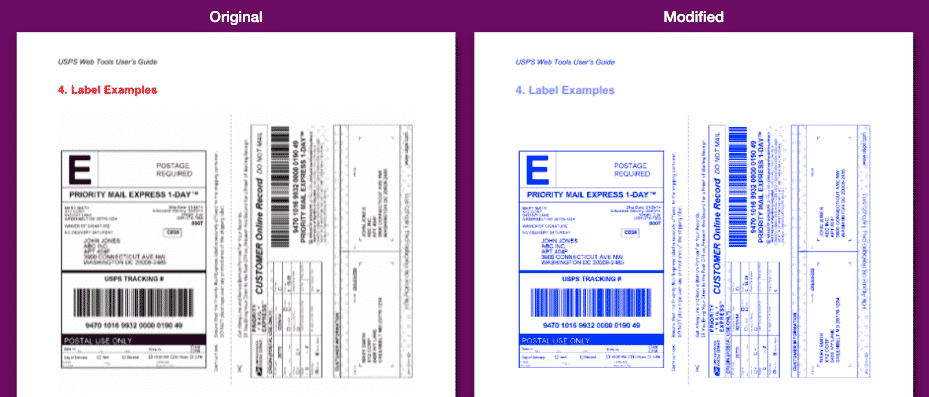 Shipping label PDF to blue for printing without black ink