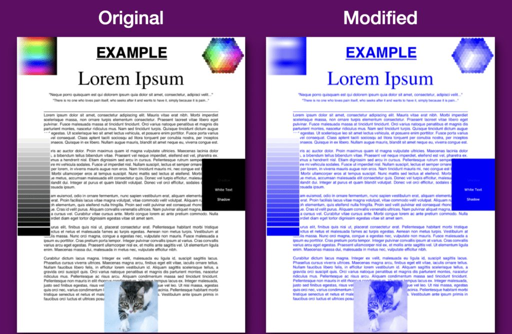 Change all colors in a PDF to blue