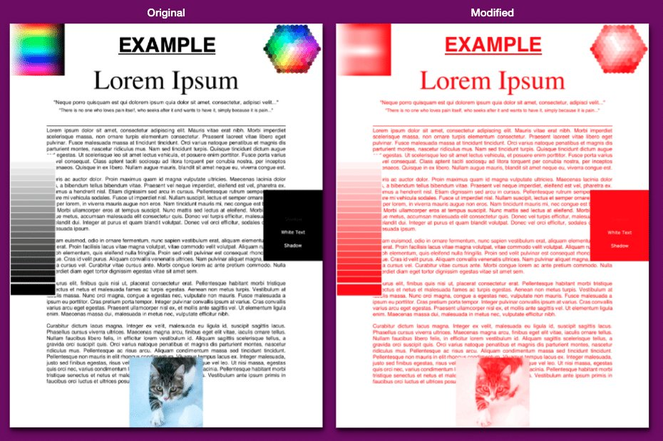 Black white and color pdf to a Red.